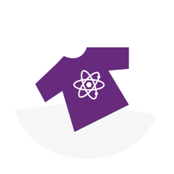 Purple T-Shirt with atom on it